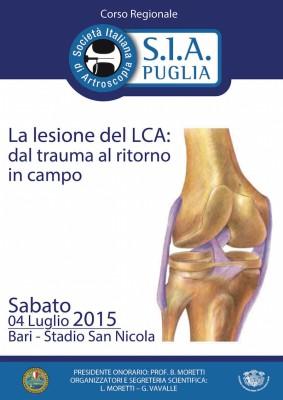Corso SIA Puglia – La lesione del LCA: dal trauma al ritorno in campo – Bari Stadio S. Nicola – 4 luglio 2015 – Gratuito