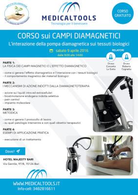 Corso - Campi Diamagnetici - L'interazione della pompa diamagnetica sui tessuti biologici - Bari 9 aprile 2016 - Gratuito