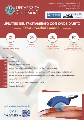 Corso - Updates nel trattamento Con Onde D'urto, oltre i Tendini, i Muscoli - Bari 2016 – Gratuito