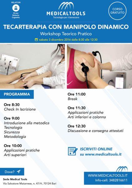 Corso – Tecarterapia con manipolo dinamico, Workshop Teorico Pratico – Bari 3 dicembre 2016 – Gratuito