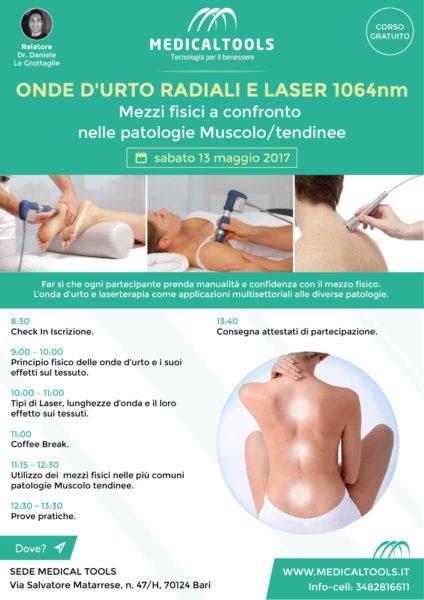 Corso - Onde D'urto Radiali e Laser 1064nm - Mezzi fisici a confronto nelle patologie Muscolo / tendinee - Bari (BA) 13 maggio 2017 – Gratuito