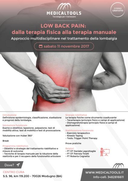 Corso - LOW BACK PAIN: dalla terapia fisica alla terapia manuale - Modugno (BA) 11 novembre 2017 - Gratuito