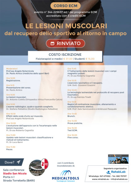 Corso ECM - Le lesioni muscolari - dal recupero dello sportivo al ritorno in campo - Bari (Stadio San Nicola) [RINVIATO]