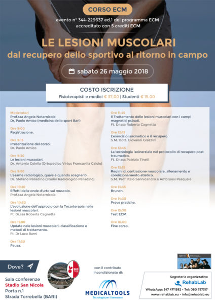 Corso ECM - Le lesioni muscolari - dal recupero dello sportivo al ritorno in campo - Bari (Stadio San Nicola) 26 maggio 2018