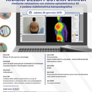 Corso – Analisi della postura umana – valutazione con sistema 3D e pedana – Modugno (BA) 26 gennaio 2019